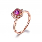 Natural Amethyst Rings for Women Rose Gold Color Flower Style