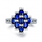 Oval Cut Blue Gemstone Sterling Silver Rings with Cz