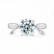 2 Carat Sona Diamond Ring Round Cut Classic Four Claws Design