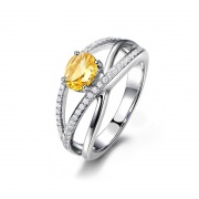 Sterling Silver Natural Citrine Ring with Simulated Diamond