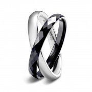 Black and Silver Tungsten & Stainless Steel Interlocked Rings