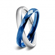 Blue and Silver Two Rings Interlocked High Polished