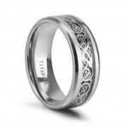Silver Titanium Rings Celtic Dragon Designs 8mm