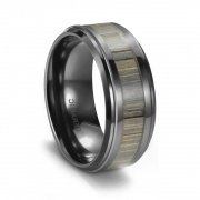 Ceramic Mens Rings Hunting Style with High Polished Stepped Edge