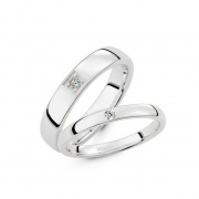 Promise Rings Couples Set in Sterling Silver High Polished