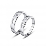 Sterling Silver Cute Couple Rings with Footprint and CZ