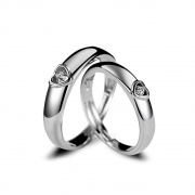 Heart Sterling Silver Cz Rings Adjustable for Couples