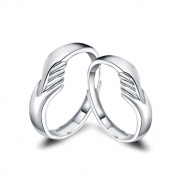 Cute Hug Couple Rings Adjustable in Sterling Silver