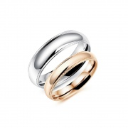 Rose Gold and Silver High Polished Couple Rings