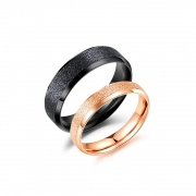 Matte Rose Gold and Black Couple Engagement Rings