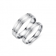 Flat Silver Couple Rings in Stainless/Titanium Steel