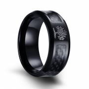 Black Stainless Steel Carbon Fiber Rings with Life Tree