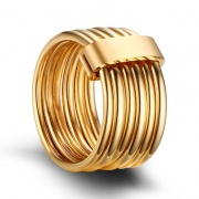 10mm Wide Gold Stainless Steel Rings 6 Plain Bands Interlocked Stacked Ring Set