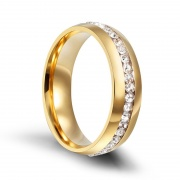Stainless Steel Mens Womens Wedding Bands Gold with Cz Inlay