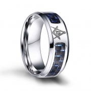 Stainless Steel Masonic Rings with Carbon Fiber