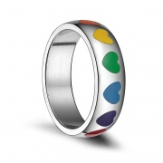 Heart Rainbow Enamel Ring in Stainless Steel Gay Lesbian Pride Jewelry