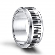 8mm Rotated Silver Stainless Steel Rings with Piano Keys