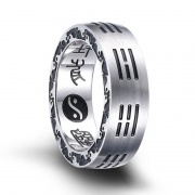Gossip Taiji Religious Ring for Men in Stainless Steel
