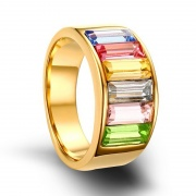 Rainbow CZ Stainless Steel Rings Gold Plated for Lesbian & Gay