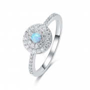 Opal and Cubic Zirconia Promise Rings in Sterling Silver