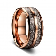 Rose Gold Meteorite Ring in Tungsten