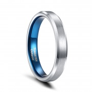 Blue and Silver Tungsten Rings with Brushed Center 4 - 8mm