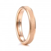 Rose Gold Mens Womens Wedding Band with Matte Center