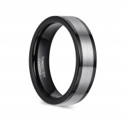 Black and Silver Tungsten Wedding Bands Flat Style