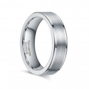 Grey Tungsten Wedding Bands with Flat Edge