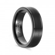 Mens Womens Black Tungsten Wedding Bands with Brushed Center