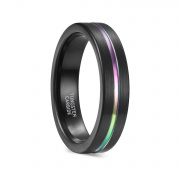 Black Tungsten Carbide Rings with Rainbow Inlay