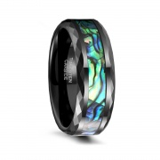 Multi-color Rainbow Abalone Shell Tungsten Wedding Rings Faceted Edge