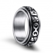 Mens Punk Rings Spinner Religious Rings in Stainless Steel