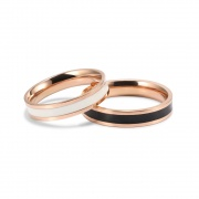 Rose Gold Couple Promise Bands in Stainless/Titanium Steel