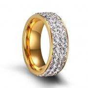 Rock Crystal Rings in Stainless Steel 7mm