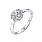 Cubic Zirconia Flower Engagement Ring in Sterling Silver