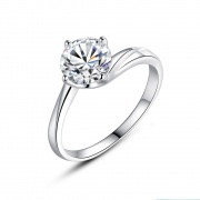 Cubic Zirconia Engagement Ring in Sterling Silver Four Claws