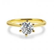 1 Carat 925 Sterling Silver Engagement Rings Gold Plated Six Claws Design
