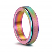Rainbow Color Tungsten Carbide Rings Sandblasted Spinner Ring Band
