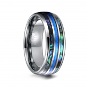 Abalone Shell and Opal Domed Tungsten Rings