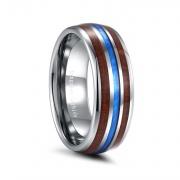 Hawaiian Koa Wood & Blue Imitated Meteorite Inlay Tungsten Wedding Bands