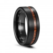 Black Tungsten Koa Wood Wedding Bands