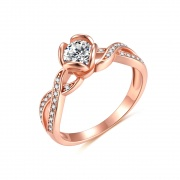 Rose Gold Cz Engagement Rings in 925 Sterling Silver