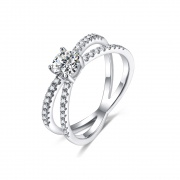 Double Band Solitaire Engagement Rings in 925 Sterling Silver