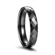 Faceted Black Ceramic Rings
