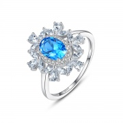 Blue Topaz Rings Antique Silver Rings