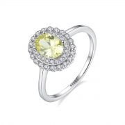 Green Sapphire Ring Vintage Round Engagement Rings