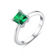 Emerald Engagement Rings with White Gold Plated