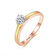 Cubic Zirconia Halo Engagement Ring Tricolor Rings for Women