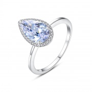 Crystal Engagement Rings Teardrop Cut Rings with Mini CZ